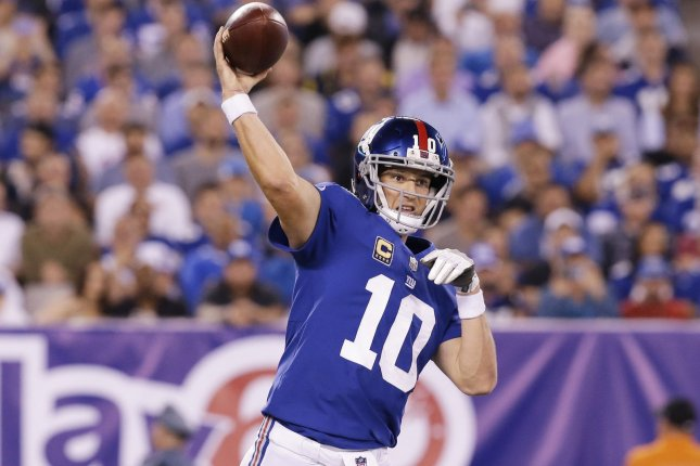 New York Giants Eli Manning throws a pass in the 2nd quarter against the Detroit Lions in week 2 of the NFL at MetLife Stadium in East Rutherford, New Jersey on September 18, 2017. File photo by John Angelillo/UPI