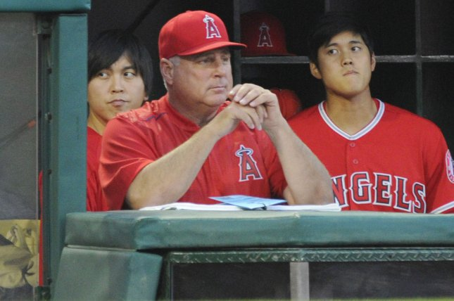 Los Angeles Angels manager Mike Scioscia in the dugout in the 7th inning against the New York Yankees on April 29 at Angel Stadium in Anaheim, Calif. Photo by Lori Shepler/UPI