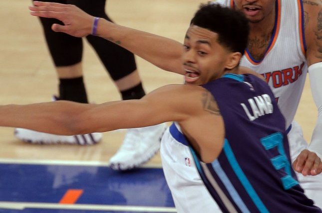 Jeremy Lamb and the Charlotte Hornets face the Cleveland Cavaliers on Tuesday. Photo by Ray Stubblebine/UPI