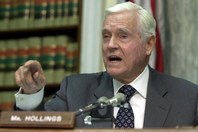 Former U.S. Senator Ernest Hollings, D-S.C., shown here in 2003 at a House Transportation committee hearing, has died at age 97. File Photo by Roger L. Wollenberg/UPI