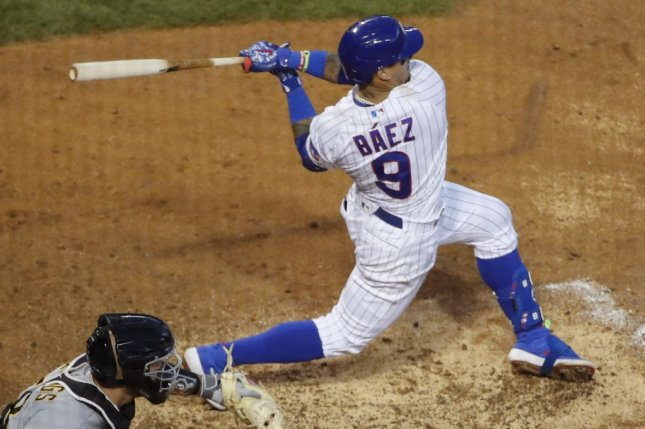 Chicago Cubs shortstop Javier Baez had just one hit against the Pittsburgh Pirates Sunday in Chicago, but it was a game-winning RBI single. File Photo by Kamil Krzaczynski/UPI