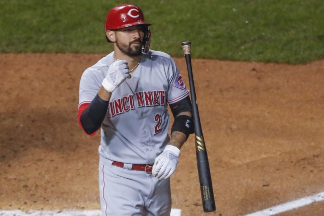Cincinnati Reds outfielder Nick Castellanos has been suspended for two games, pending a ruling on his appeal. File Photo by Kamil Krzaczynski/UPI