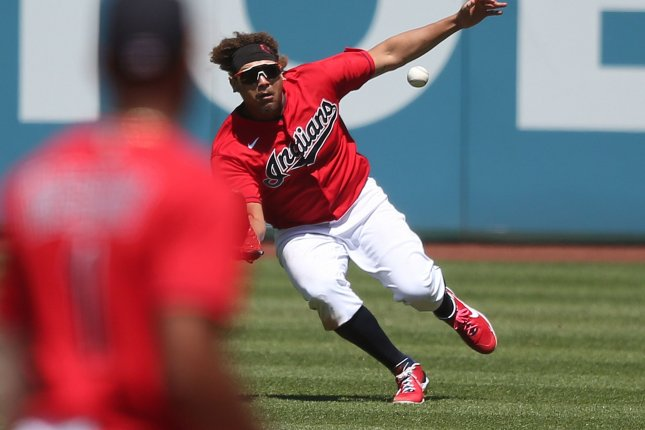 Cleveland Indians outfielder Josh Naylor, shown June 17, suffered the major ankle injury after colliding with teammate Ernie Clement during Sunday's game against the Minnesota Twins. File Photo by Aaron Josefczyk/UPI
