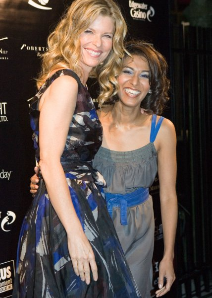 Actresses Kate Vernon (L) and Rekha Sharma (both in television series Battlestar Galactica) arrive on the red carpet for the Insight Film Sudios event at the Edgewater Casino in Vancouver, British Columbia, September 27, 2008 during the Vancouver International Film Festival (UPI Photo/Heinz Ruckemann)