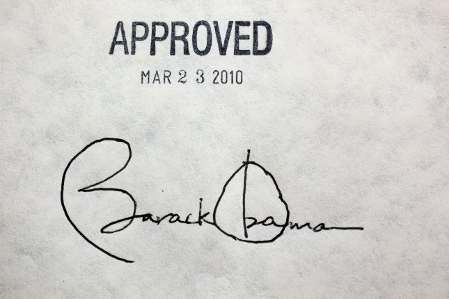 U. S. President Barack Obama's signature on the health insurance reform bill is shown at the White House, March 23, 2010. The historic $938 million health care bill will guaranteed coverage for 32 million uninsured Americans and will touch nearly every American's life. UPI/Chuck Kennedy/White House