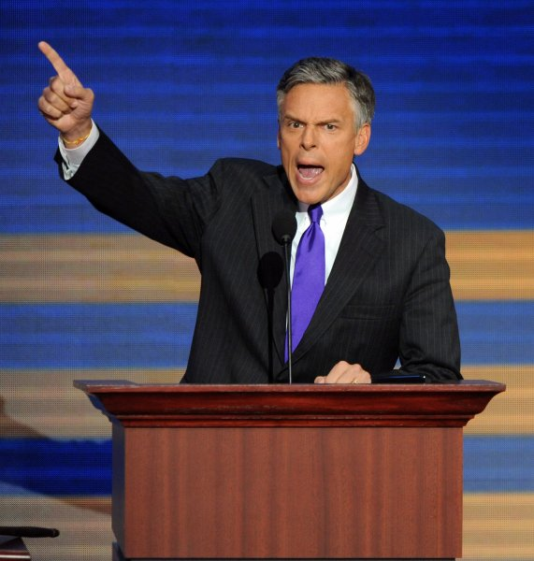 Gov. Jon Huntsman (Utah) officially nominates Republican Vice Presidential Nominee Alaska Gov. Sarah Palin on the last day of the Republican National Convention in St. Paul, Minnesota, on September 4, 2008. (UPI Photo/Roger L. Wollenberg)