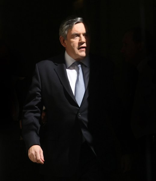 Britain's Prime Minister Gordon Brown leaves No.10 Downing St to hear the Chancellor's 2009 budget in parliament, London April 22 2009.The Chancellor is expected to reveal the depth of the UK recession and the route to recovery. (UPI Photo/Hugo Philpott)