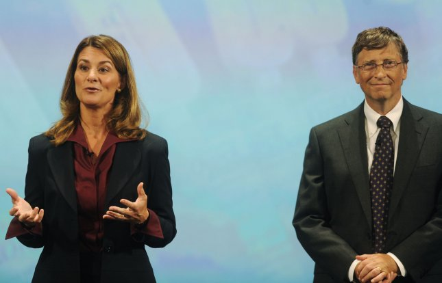 Bill and Melinda Gates speak to an audience gathered at the Sidney Harmen Hall in Washington on global health initiatives on October 27, 2009. The Gateses, who co-chair the Bill and Melinda Gates Foundation, spoke about the Foundation's Living Proof Project, which reports on successful cases of U.S.-funded international health programs. UPI/Alexis C. Glenn