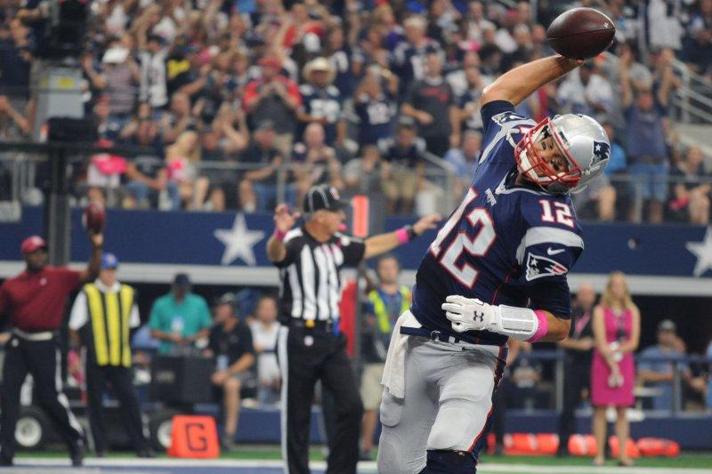 New England Patriots quarterback Tom Brady. Photo by Ian Halperin/UPI