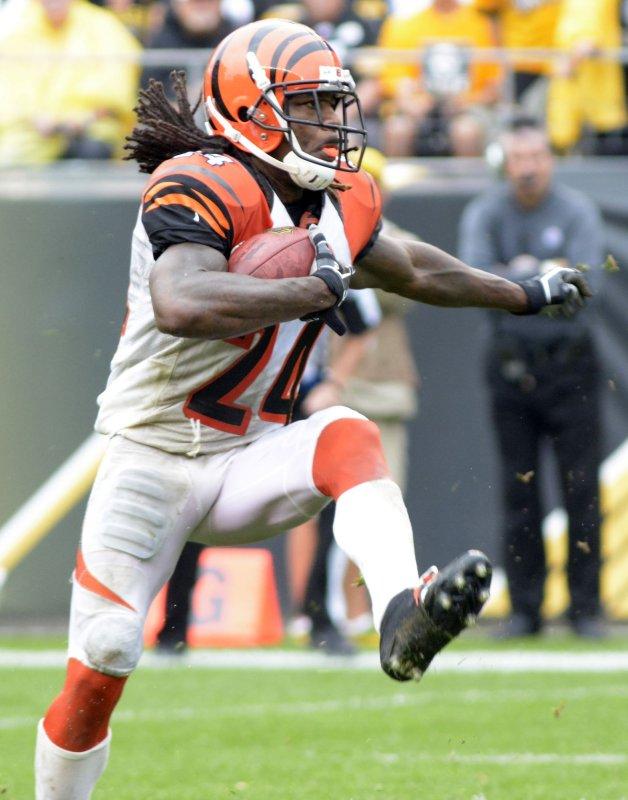 Cincinnati Bengals cornerback Adam Jones returns a punt against the Pittsburgh Steelers last season. Photo by Archie Carpenter/UPI