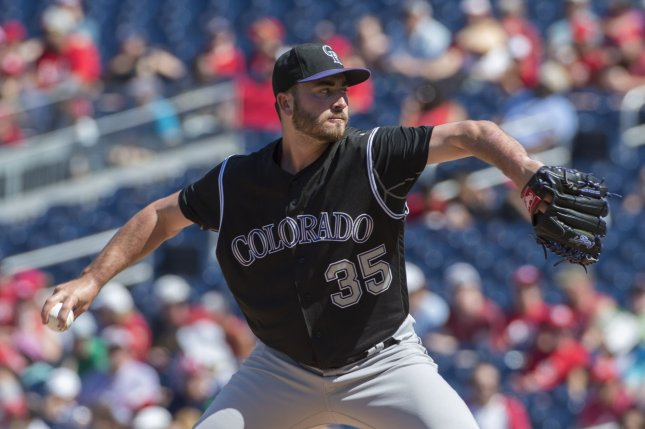 Colorado Rockies starter Chad Bettis delivers a pitch in the fourth inning of game between the Washington Nationals and Colorado Rockies at Nationals Stadium in Washington, DC. File photo by Pat Benic/UPI