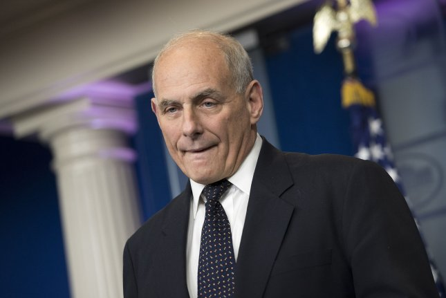 White House chief of staff John Kelly speaks about President Donald Trump's recent phone call to the wife of U.S. soldier killed in Niger during the daily press briefing at the White House in Washington, D.C. on Thursday. Kelly spoke out against Rep. Frederica Wilson's, D-Fla., account of Trump's call, saying he was stunned by her negative description. Photo by Kevin Dietsch/UPI
