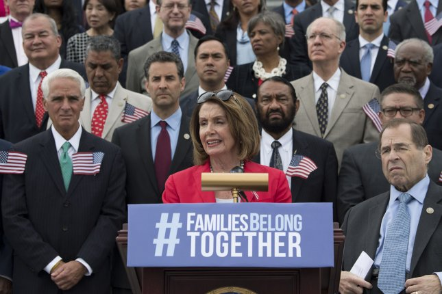 House Minority Leader Nancy Pelosi, D-Calif., joined by fellow House democrats, speaks at a press conference to introduce legislation to end family separation for those detained for crossing the border illegally, at the U.S. Capitol Building in Washington, D.C. on Wednesday. A Gallup poll released Thursday reveals 75 percent of Americans say immigration is a good thing. Photo by Kevin Dietsch/UPI