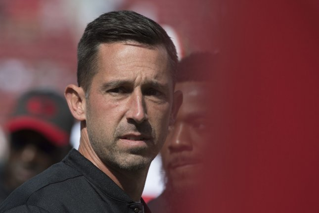 San Francisco 49ers head coach Kyle Shanahan leaves warmups before playing the Los Angeles Rams at Levi's Stadium in Santa Clara, California on October 21, 2018. Photo by Terry Schmitt/UPI