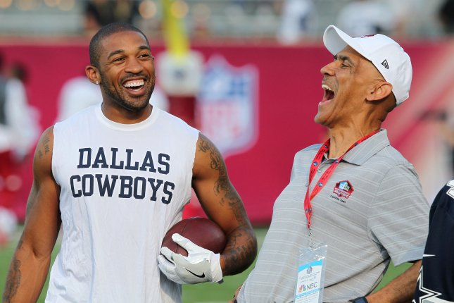 Former Dallas Cowboys cornerback Orlando Scandrick (L) originally signed a one-year deal with the Philadelphia Eagles in July, but he was released in the preseason. File Photo by Aaron Josefczyk/UPI