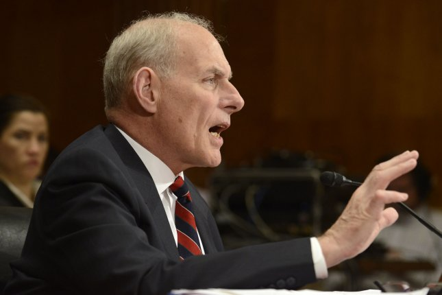 Homeland Security Secretary John Kelly speaks Thursday during a Senate Appropriations Subcommittee hearing. Photo by Mike Theiler/UPI