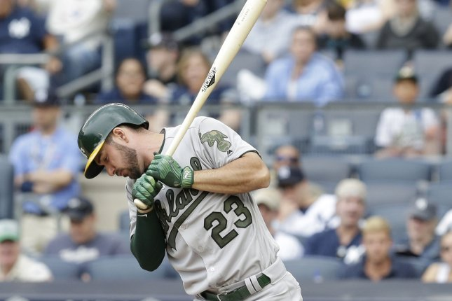 Oakland Athletics' Matt Joyce reacts after a swing against the New York Yankees. File photo by John Angelillo/UPI