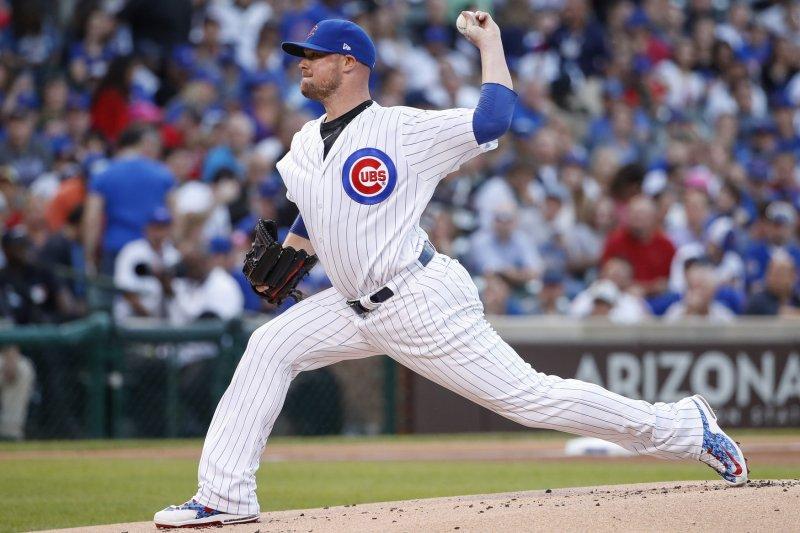 Chicago Cubs starting pitcher Jon Lester delivers a pitch. File photo by Kamil Krzaczynski/UPI