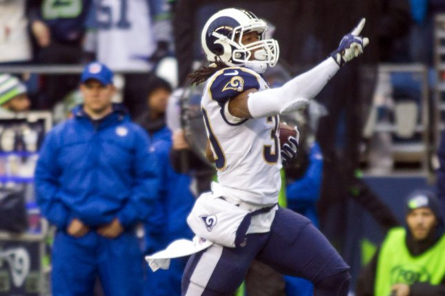 Los Angeles Rams running back Todd Gurley (30) runs for a 57-yard touchdown against the Seattle Seahawks in the during the second quarter of their NFC West showdown on December 17 at CenturyLink Field in Seattle. Photo by Jim Bryant/UPI