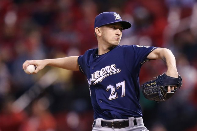 Zach Davies and the Milwaukee Brewers face the Detroit Tigers on Friday. Photo by Bill Greenblatt/UPI