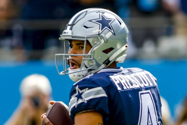 Dallas Cowboys quarterback Dak Prescott looks to pass against the Carolina Panthers on September 9, 2018. Photo by Nell Redmond/UPI