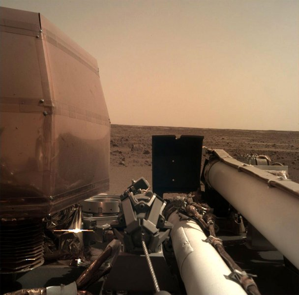 NASA's InSight Mars Lander has detected a seismic signal on the red planet for the first time, NASA and CNES announced. Pictured, a selfie of the lander taken with its robotic arm-mounted Instrument Deployment Camera on November 26, 2018, Sol 0. File Photo by NASA/UPI