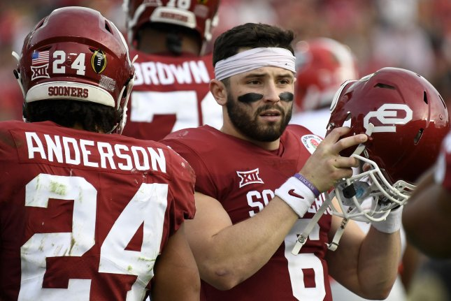 Baker Mayfield (6) ranks second in Oklahoma Sooners history with 12,292 passing yards and 88 touchdown passes, trailing only Landry Jones. File Photo by Juan Ocampo/UPI