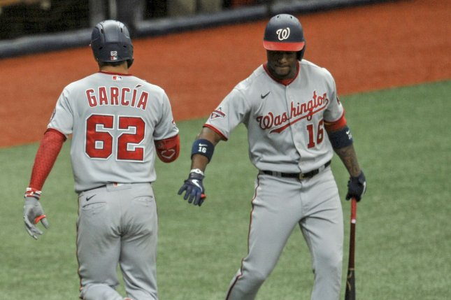 Washington Nationals rookie Luis Garcia (62) went 1 for 4 with a game-winning home run in a win over the Tampa Bay Rays Wednesday in St. Petersburg, Fla. Photo by Steven J. Nesius/UPI