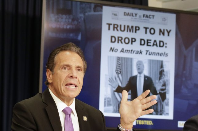 New York Gov. Andrew Cuomo's aide said his administration held back data on COVID-19 nursing home deaths out of fear of an investigation by the Trump administration. File Photo by John Angelillo/UPI