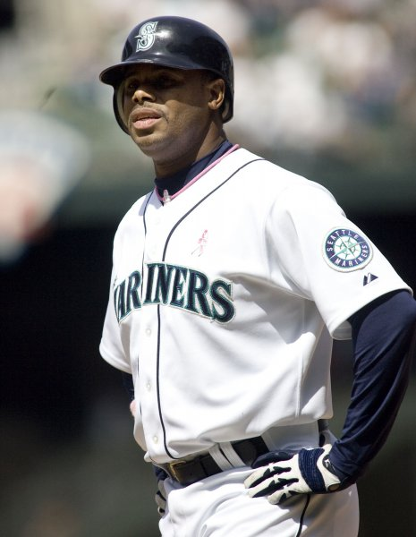 The Seattle Mariners' Ken Griffey Jr.,waits at first base after being walked against the Los Angeles Angels May 9, 2010. UPI Photo/Jim Bryant
