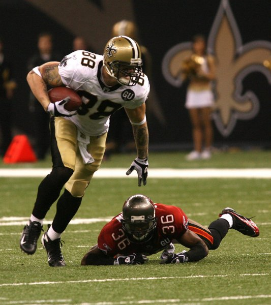 New Orleans Saints receiver Jeremy Shockey (83) takes a Drew Brees pass up the field for 26-yards in the third quarter against the Tampa Bay Buccaneers during action at the Louisiana Superdome in New Orleans on September 7, 2008. Defending on the play is Buccaneers Tanard Jackson (36). The Saints defeated the Buccaneers 24-20. (UPI Photo/A.J. Sisco)