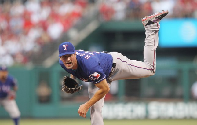 Cole Hammels and the Texas Rangers square off with the Chicago White Sox on Sunday. Photo by Bill Greenblatt/UPI