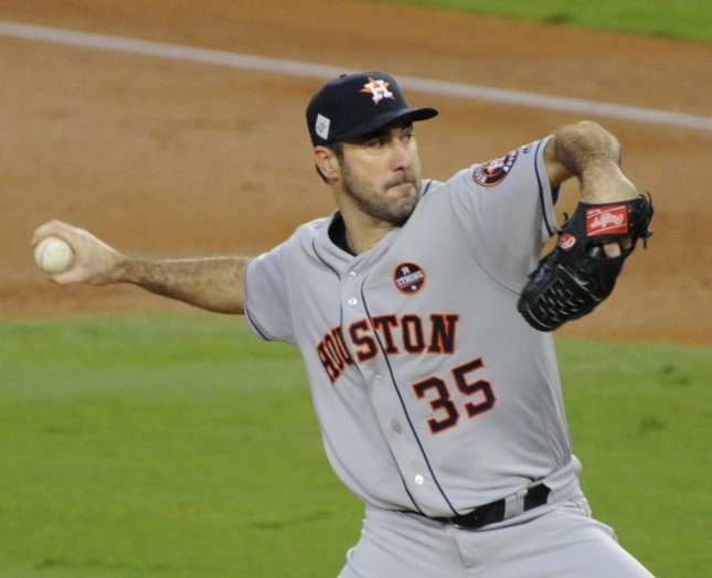 Justin Verlander and the Houston Astros take on the Oakland Athletics on Tuesday. Photo by Lori Shepler/UPI