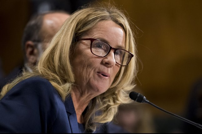 Dr. Christine Blasey Ford testifies before the Senate judiciary committee Thursday on the nomination of Brett M. Kavanaugh to the Supreme Court of the United States. She told lawmakers she was sexually assaulted by Kavanaugh at a party in 1982 when the two were high school students. Photo By Tom Williams/UPI