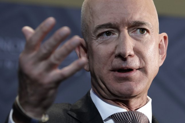 Amazon CEO Jeff Bezos said, Offering jobs with industry-leading pay and great healthcare, including to entry-level and front-line employees, is even more meaningful in a time like this, and we're proud to have created over 400,000 jobs this year alone. FilePhoto by Yuri Gripas/UPI