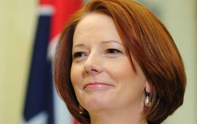 Prime Minister Julia Gillard of Australia speaks during a joint press availability with Sen. John McCain (R-AZ) on Capitol Hill in Washington on March 8, 2011. UPI/Kevin Dietsch
