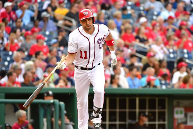 Washington Nationals first baseman Ryan Zimmerman (11) runs to first base after hitting a single against the Miami Marlins att Nationals Park in Washington, D.C. on August 30, 2017. Photo by Kevin Dietsch/UPI