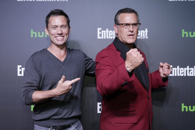 Jeffrey Donovan and Bruce Campbell arrive on the red carpet Hulu's New York Comic Con After Party at The Lobster Club on October 6 in New York City. Photo by John Angelillo/UPI