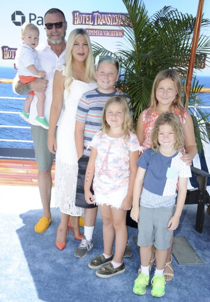 Tori Spelling, Dean McDermott and their children attend the Los Angeles premiere of Hotel Transylvania 3: Summer Vacation on Saturday. Photo by Patrick Rideaux/UPI