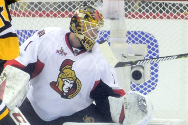 Mike Condon and the Ottawa Senators take on the Buffalo Sabres on Thursday. Photo by Archie Carpenter/UPI