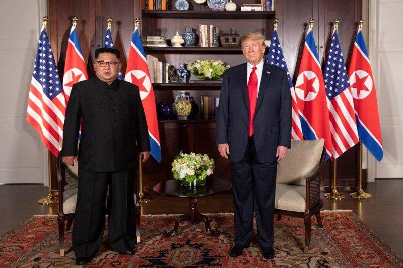 U.S. President Donald Trump meets with North Korean leader Kim Jong Un on June 12, 2018, at Singapore's Capella Hotel. File Photo by Shealah Craighead/UPI
