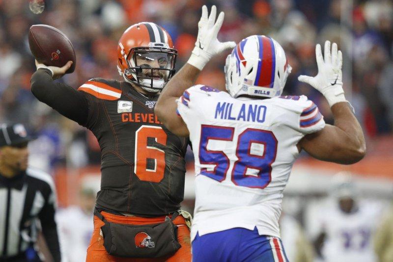 Buffalo Bills linebacker Matt Milano (58) recorded 45 total tackles and an interception in 10 regular-season games in 2020. File Photo by Aaron Josefczyk/UPI