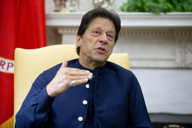 Pakistan Prime Minister Imran Khan, shown at the White House on July 22, 2019, on Thursday condemned a hotel bombing there where a Chinese delegation was staying. Photo by Michael Reynolds/UPI