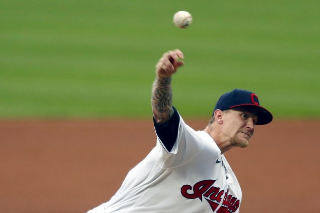 Cleveland Indians pitcher Zach Plesac is scheduled to see a hand specialist Wednesday in Dayton, Ohio, to address his broken right thumb. File Photo by Aaron Josefczyk/UPI