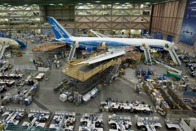 Boeing 787 airliners are seen during assembly at the company's Everett, Wash., plant. File Photo by Jim Bryant/UPI