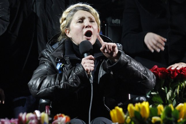 Ukrainian opposition leader Yulia Tymoshenko addresses anti-government protesters on the Independence Square in Kiev on February 22, 2014. UPI/Ivan Vakolenko
