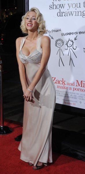 Katie Morgan, a cast member in the motion picture dramatic comedy Zack and Miri Make a Porno, attends the premiere of the film in Los Angeles on October 20, 2008. (UPI Photo/Jim Ruymen)