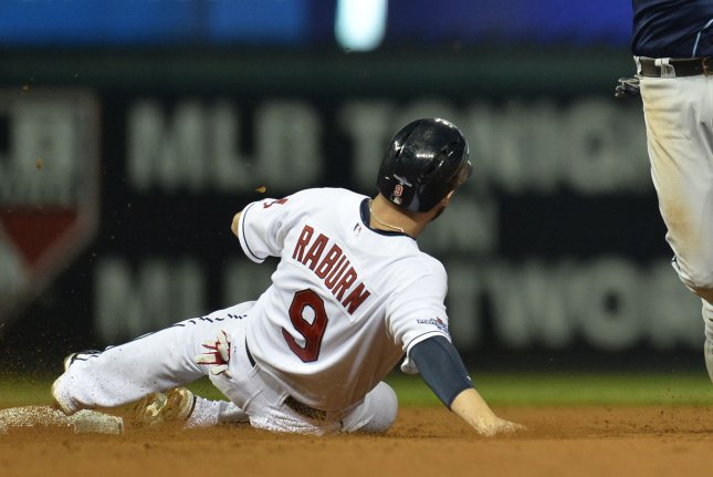 Cleveland Indians Ryan Raburn (9) is out at second as Tampa Bay Rays SS Yunel Escobar turns a double play on Indians Asdrubal Cabrera in the fourth inning of the American League Wildcard Game at Progressive Field in Cleveland, Ohio on October 2, 2013. UPI/Brian Kersey