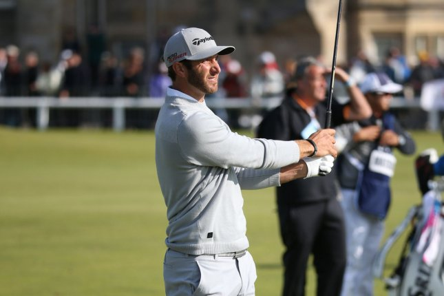 American Dustin Johnson plays a fairway shot on the 1st hole on the second day of the 144th Open Championship, St.Andrews on July 16, 2015. Photo by Hugo Philpott/UPI.