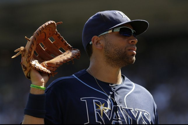 Tampa Bay Rays' James Loney stands on the field in the 4th inning against the New York Yankees at Yankee Stadium in New York City on September 6, 2015. Photo by John Angelillo/UPI
